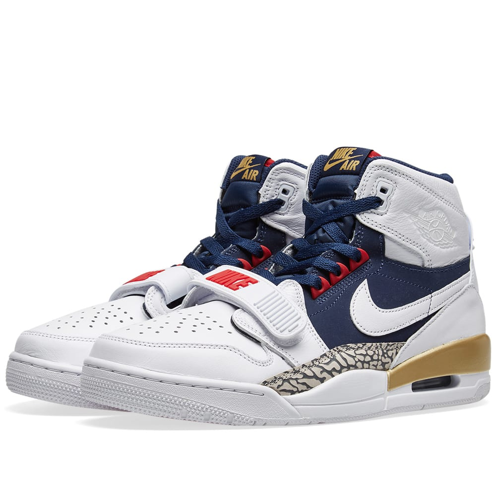 meet 555d1 3fe2a Air Jordan Legacy 312 White, Navy, Red   Gold   END.