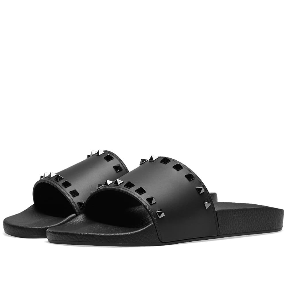 Valentino Rockstud Slide Sandal Black