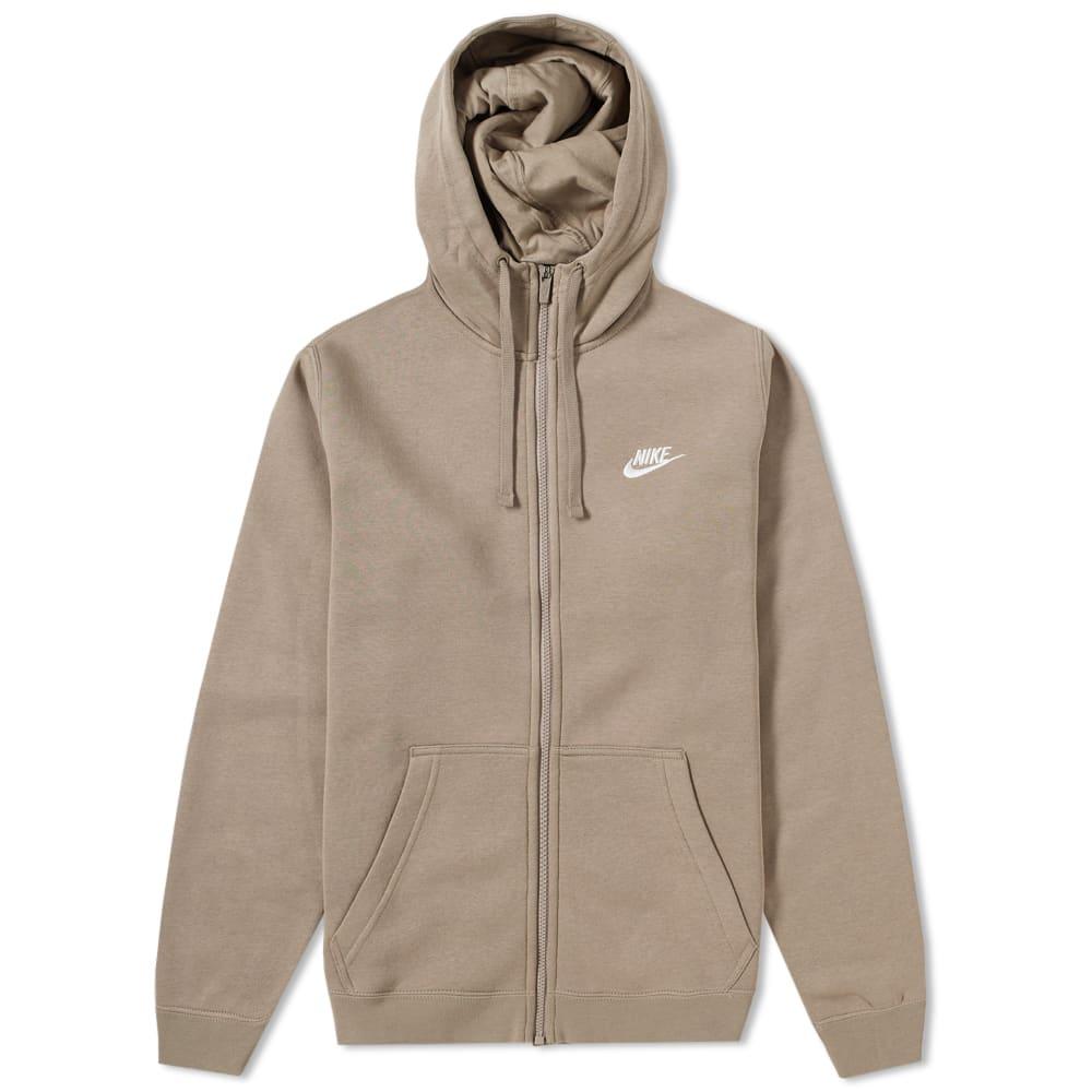 6555f3dc Nike Club Full Zip Hoody Sepia Stone & White | END.