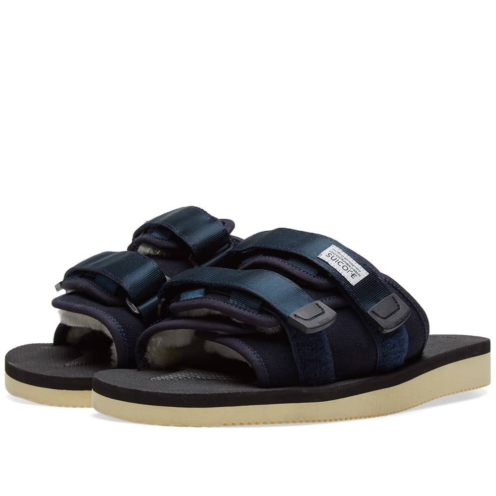 SUICOKE Suicoke Navy Shearling Moto Sandals in Blue