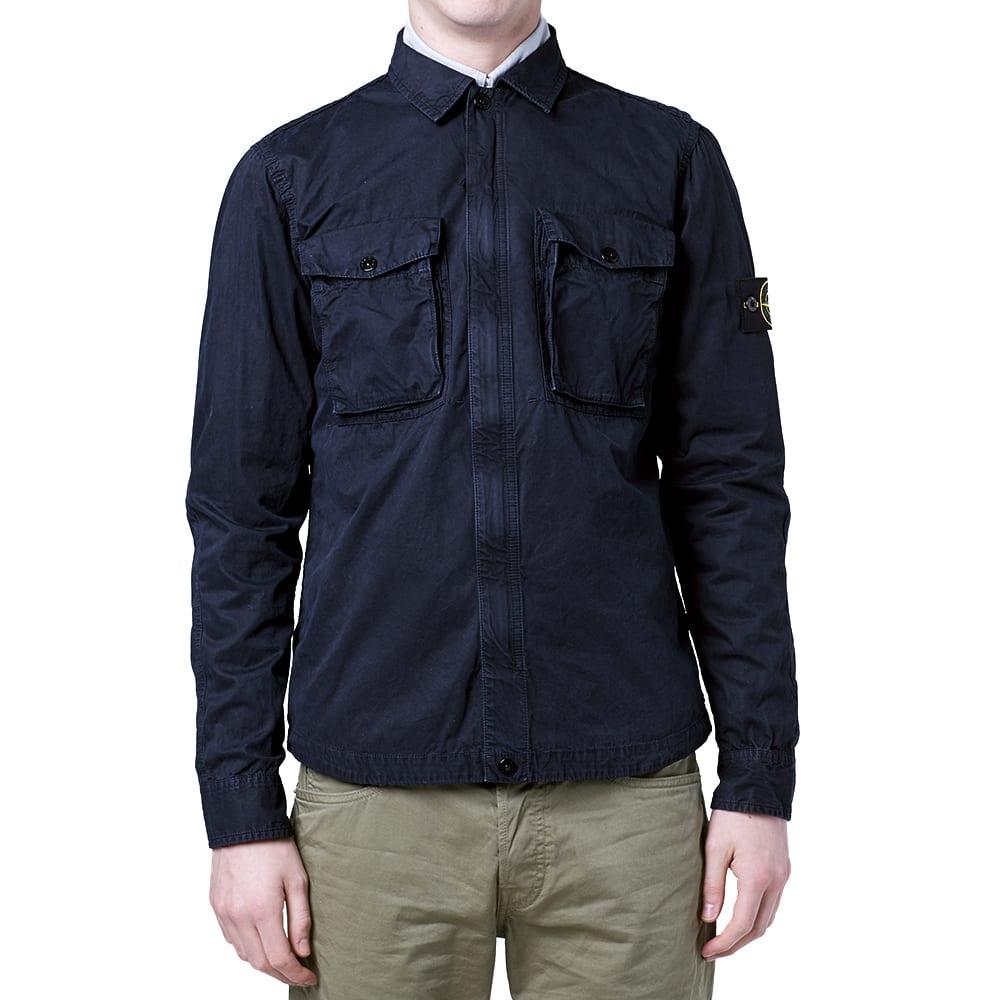 Stone Island Garment Dyed Old Effect Zipped Jacket (Navy)