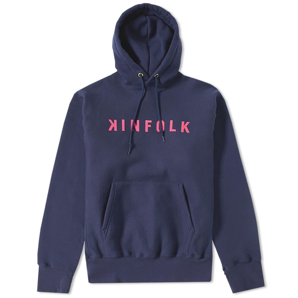 KINFOLK Kinfolk Elba Logo Hoody in Blue