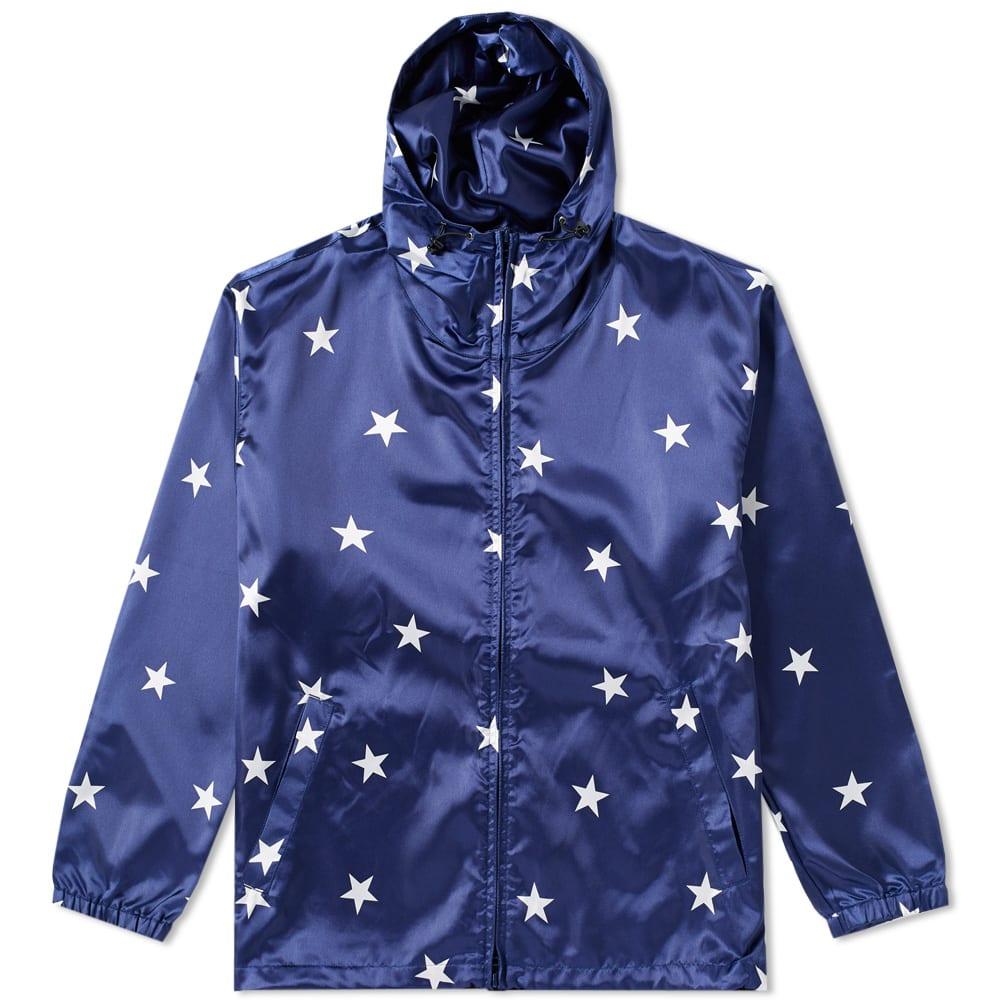 SOPHNET. Sophnet. Zip Up Star Hoody in Blue