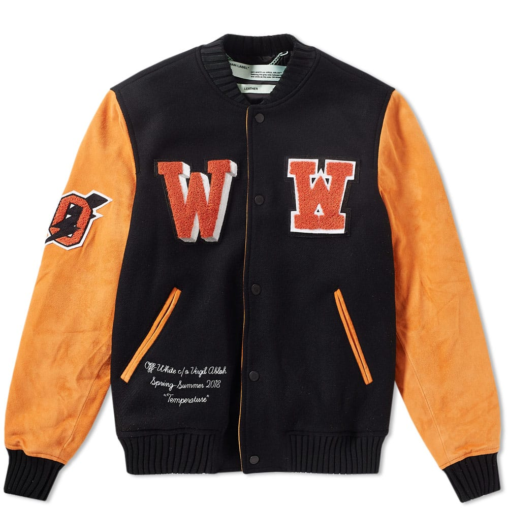 5e7aca51c Off-White Eagle Patch Varsity Jacket