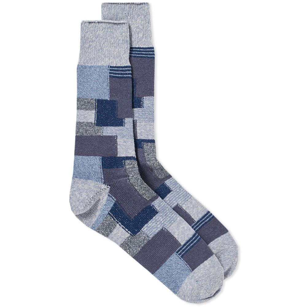 ANONYMOUS ISM Anonymous Ism Patchwork Crew Sock in Blue