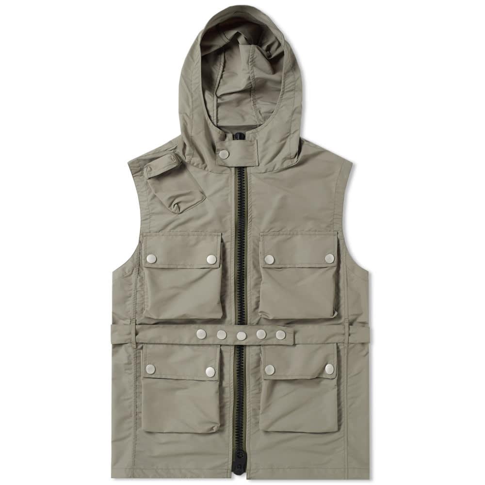 NIGEL CABOURN Nigel Cabourn Hooded Multi Pocket Vest in Green