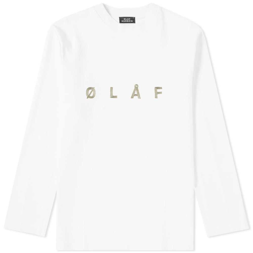 OLAF HUSSEIN Olaf Hussein Long Sleeve Ølåf Chain Stitch Tee in White