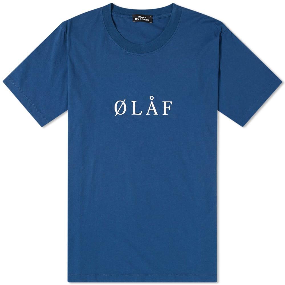 OLAF HUSSEIN Olaf Hussein Ølåf Serif Tee in Blue