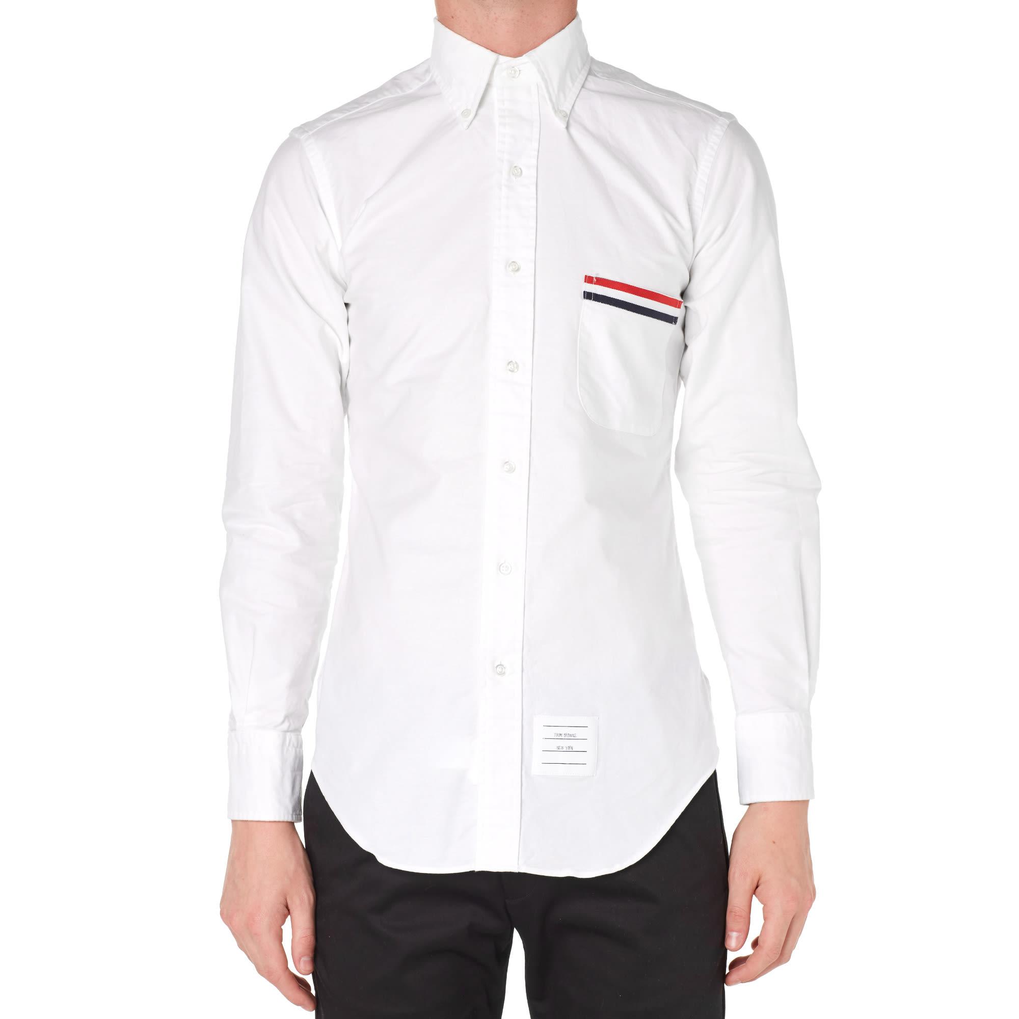 Thom browne grosgrain pocket oxford shirt white for Thom browne white shirt