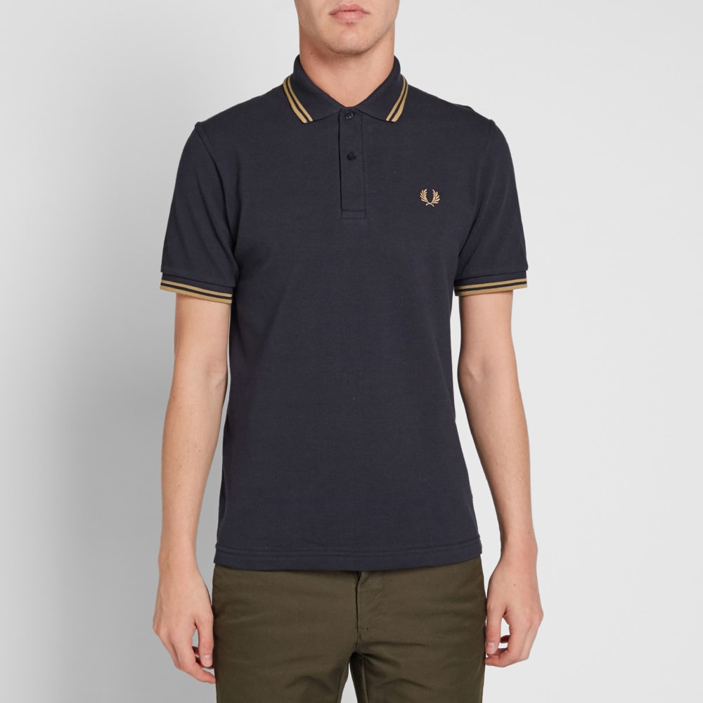 fred perry reissues original twin tipped polo navy 1964 gold. Black Bedroom Furniture Sets. Home Design Ideas
