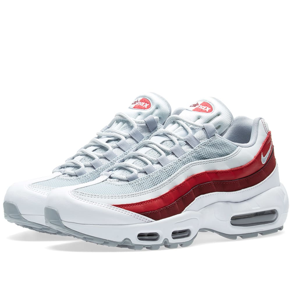free shipping c198a 7963c Nike Air Max 95 Essential White, Wolf Grey   Team Red   END.