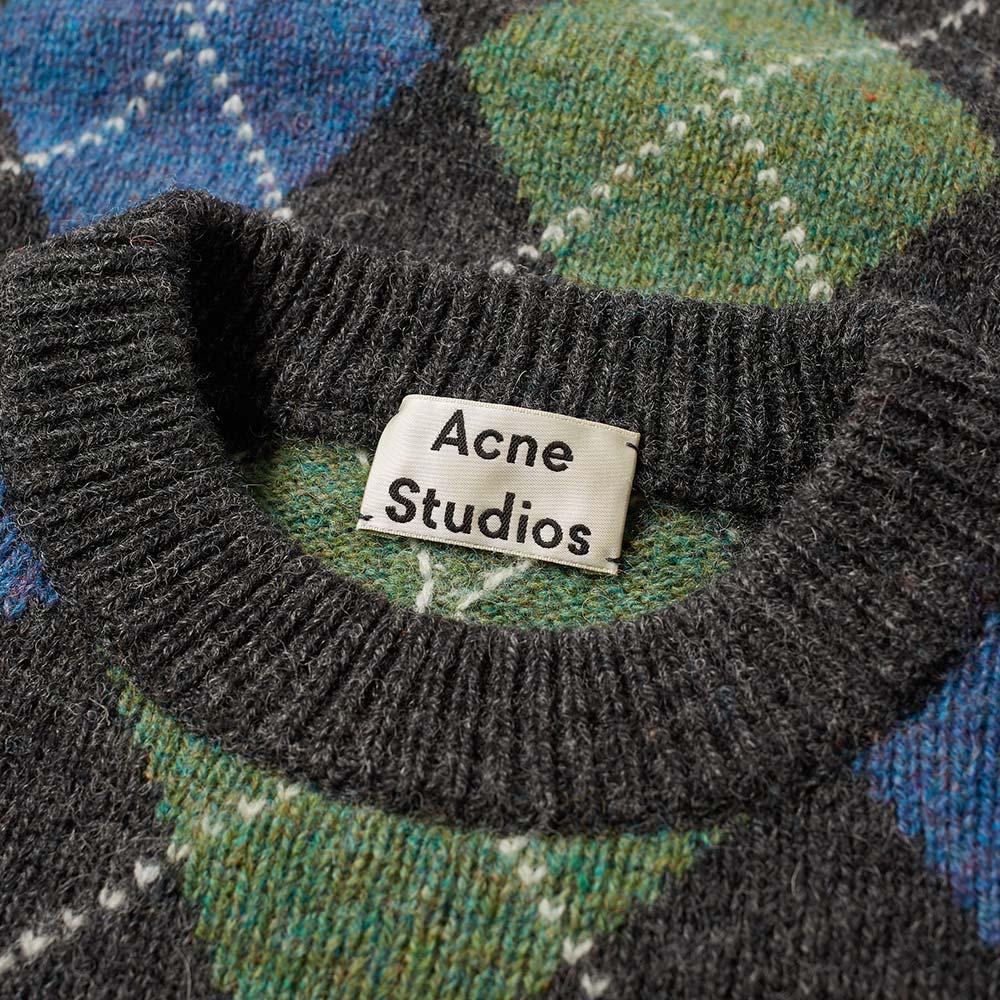 Acne Studios Newton It Argyle Knit Charcoal Melange   END.