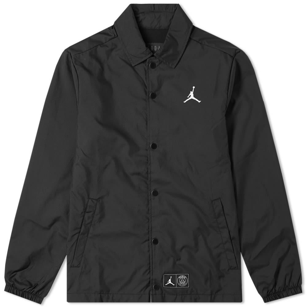 29c365a202a311 Jordan x Paris Saint-Germain Coach Jacket Black   White