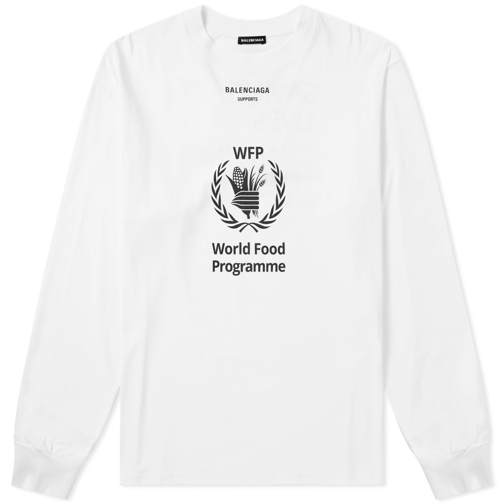 Balenciaga Long Sleeve World Food Programme Tee White End