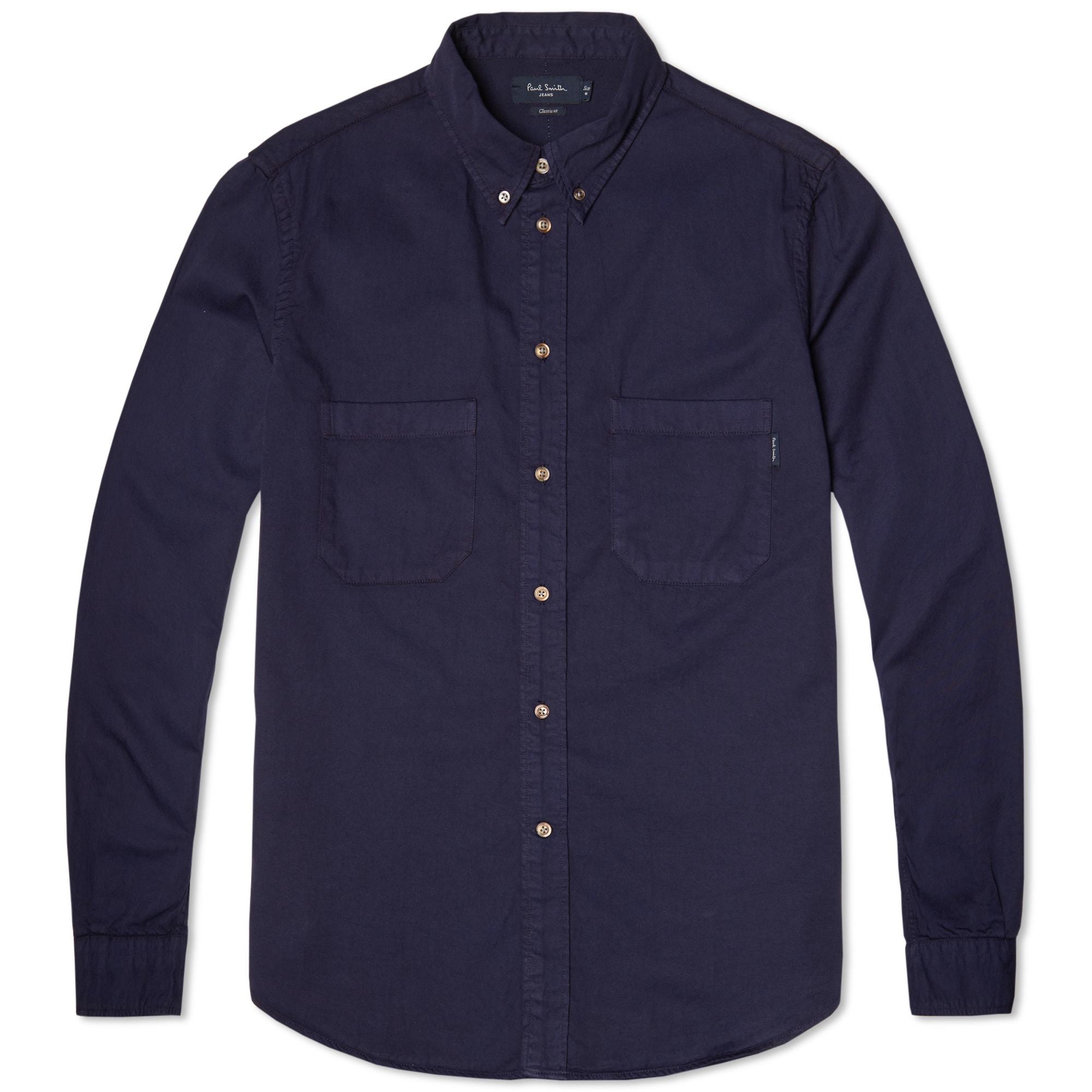 Paul smith button down garment dyed heavy twill shirt indigo for Heavy button down shirts