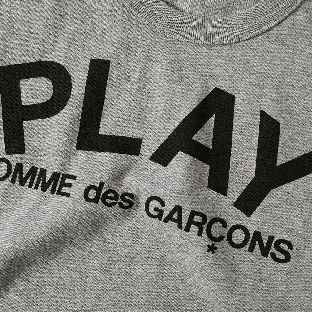 1ae23ab6f2b8 Comme des Garcons Play Kids Text Logo Tee Grey   Black