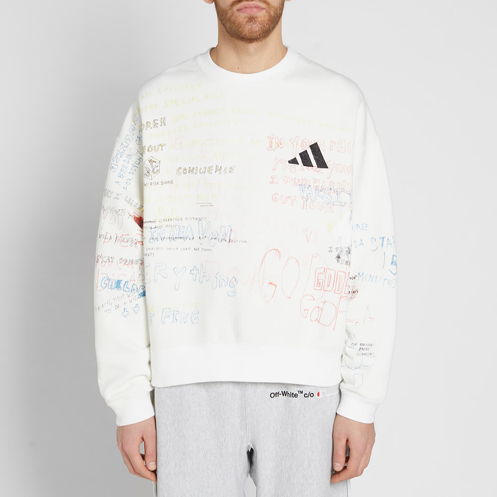 956e833f7 Yeezy Season 5 Handwriting Adidas Crew Sweat Arctic