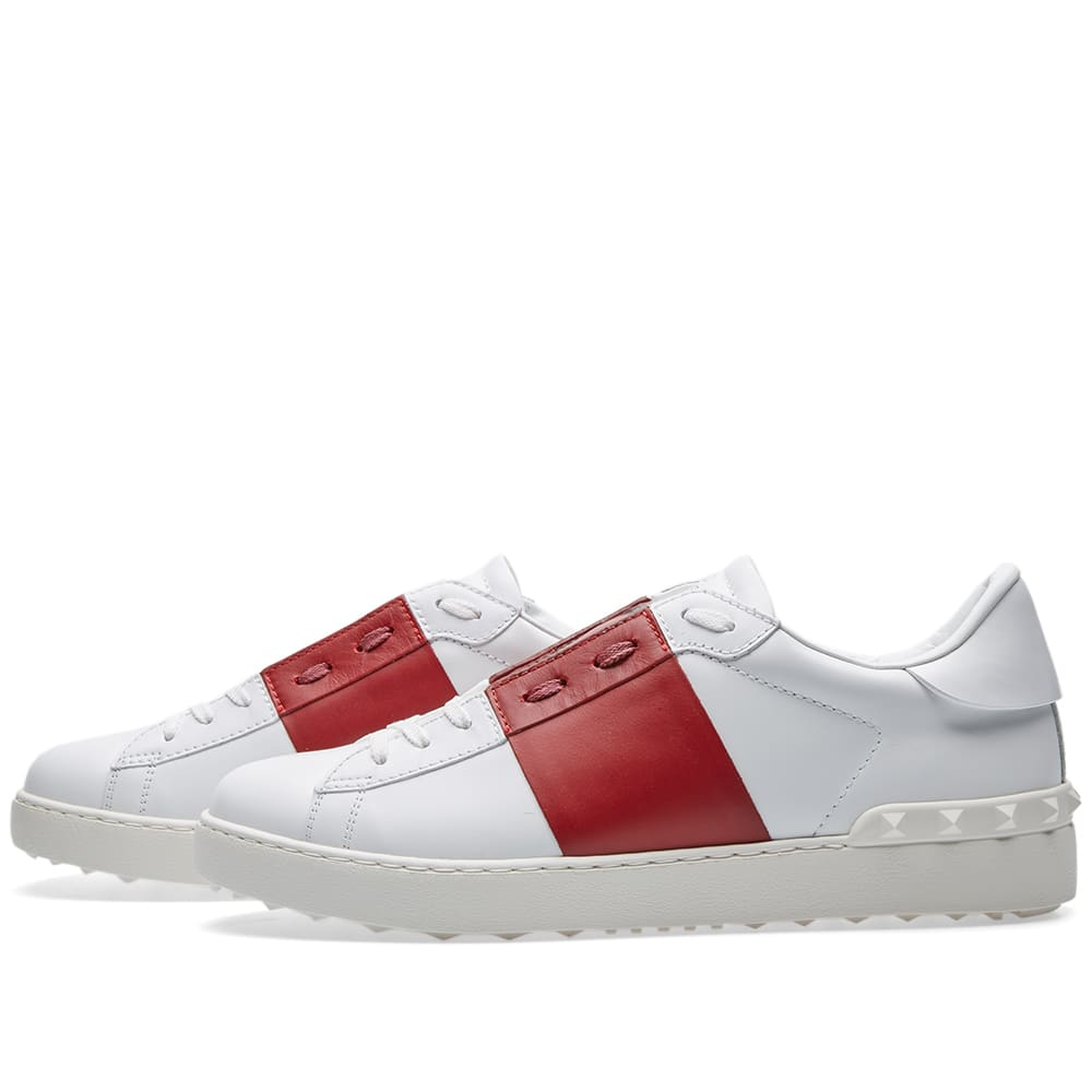 Valentino Open Low Top Sneaker White Amp Red End