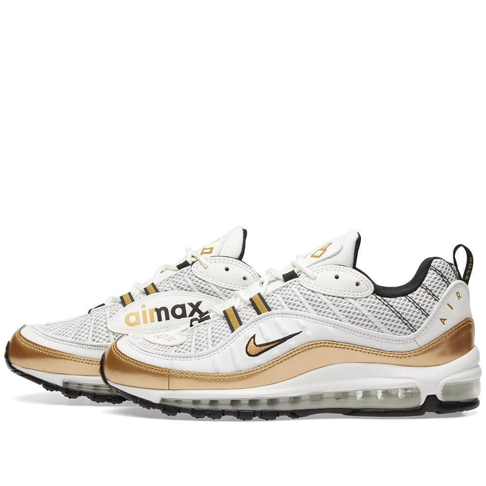 43562fec2b ... aj6302; nike air max 98 uk gmt summit white metallic gold end.