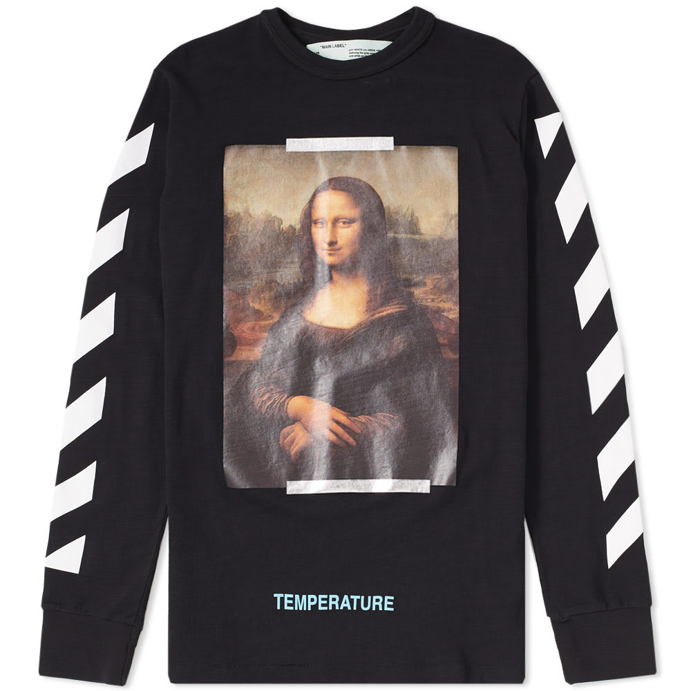 81a3171e2a2 Off-White Long Sleeve Diagonal Monalisa Tee Black   White