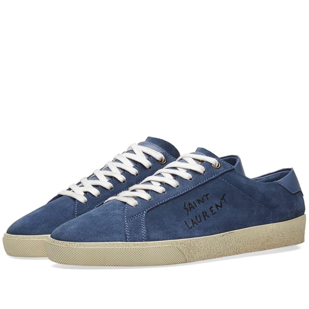 c244ff37a59 Saint Laurent SL-06 Signature Distressed Sneaker Denim Nubuck