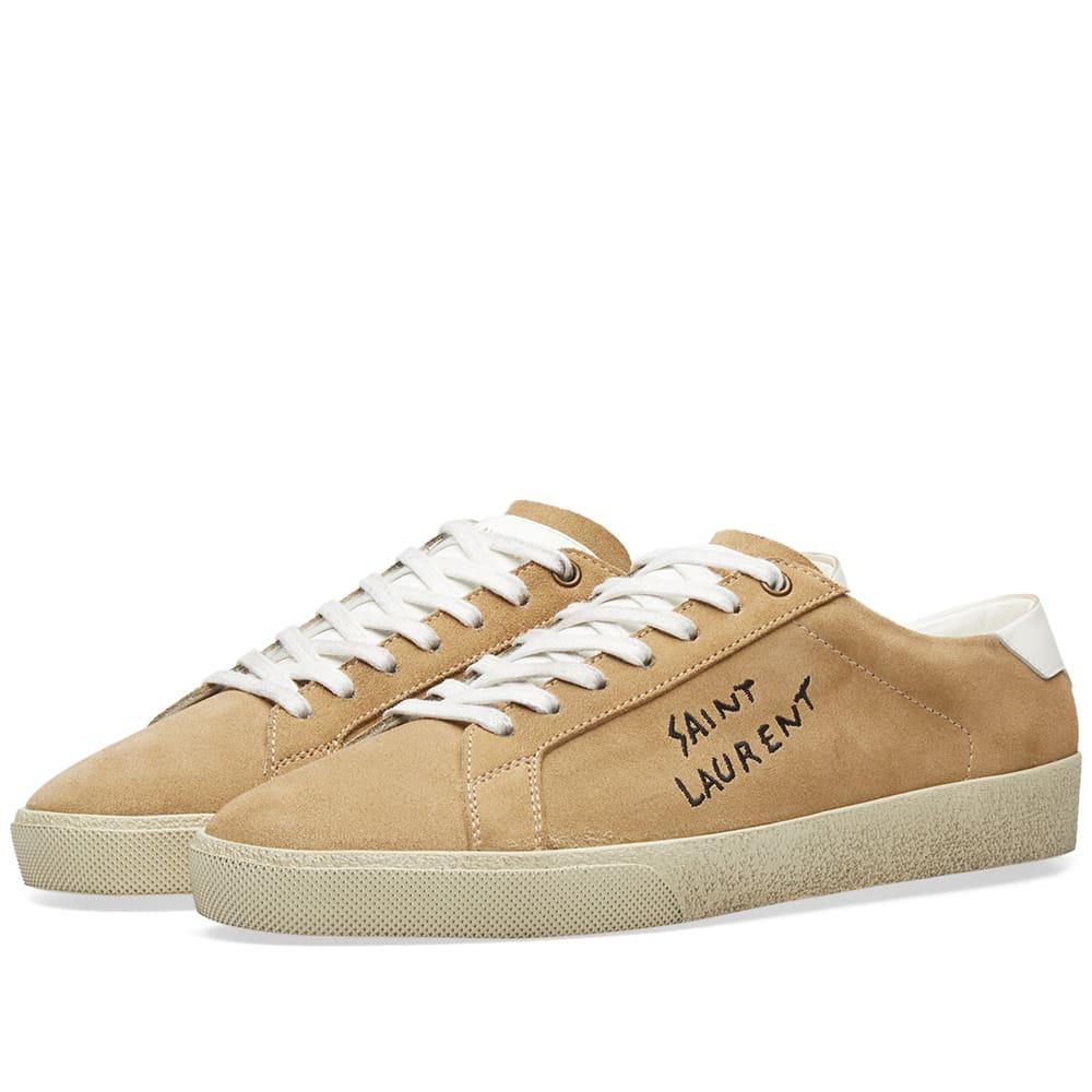 caa69c27703 Saint Laurent SL-06 Signature Distressed Sneaker Sable Nubuck