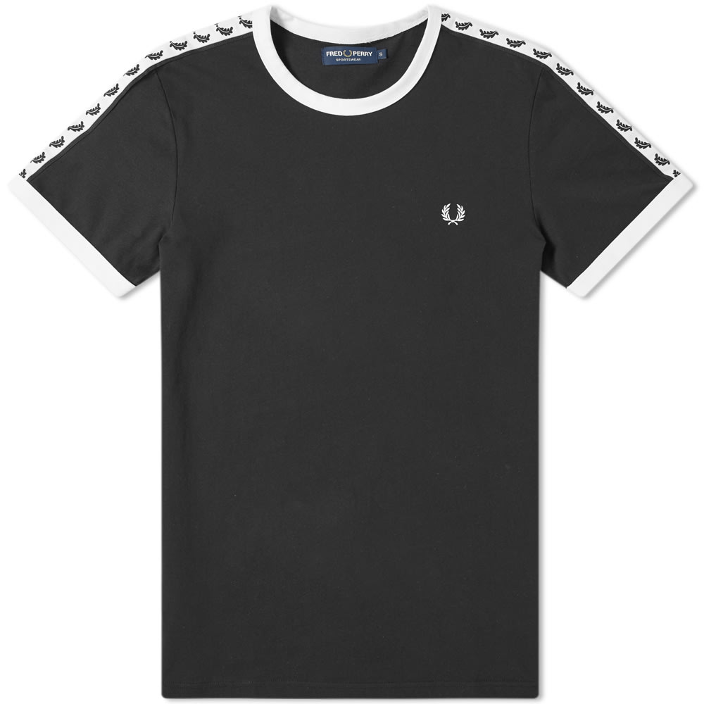 FRED PERRY | Fred Perry Authentic Taped Ringer Tee Black | Goxip