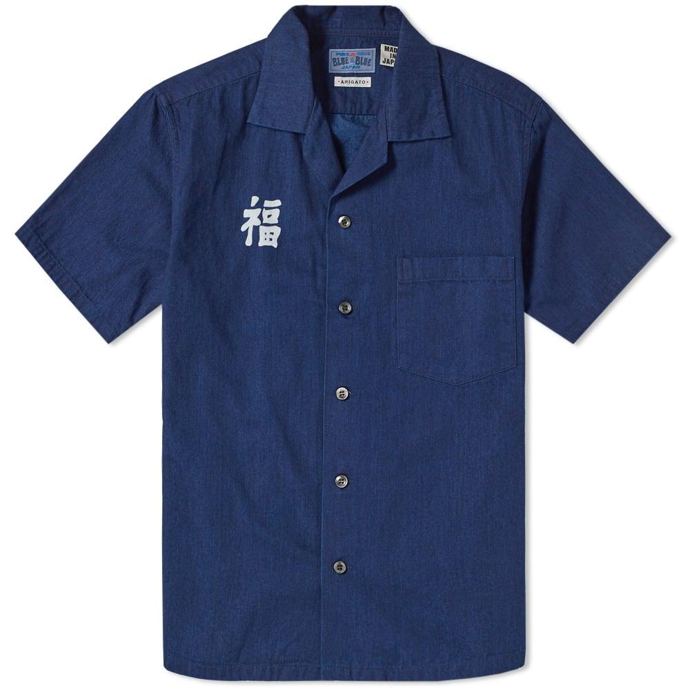 BLUE BLUE JAPAN SHORT SLEEVE INDIGO DYED FUKU WORK SHIRT