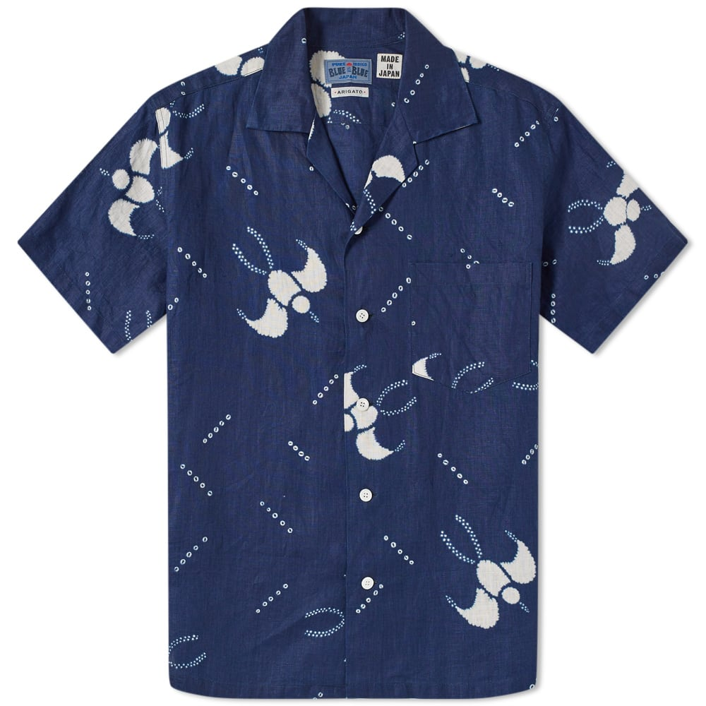 BLUE BLUE JAPAN Slim-Fit Camp-Collar Printed Cotton-Gauze Shirt