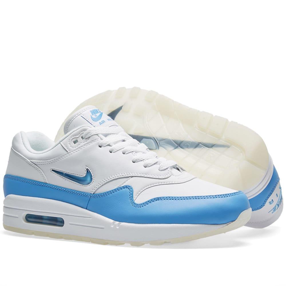 huge selection of 11053 1bb54 Nike Air Max 1 Premium SC. White   University Blue