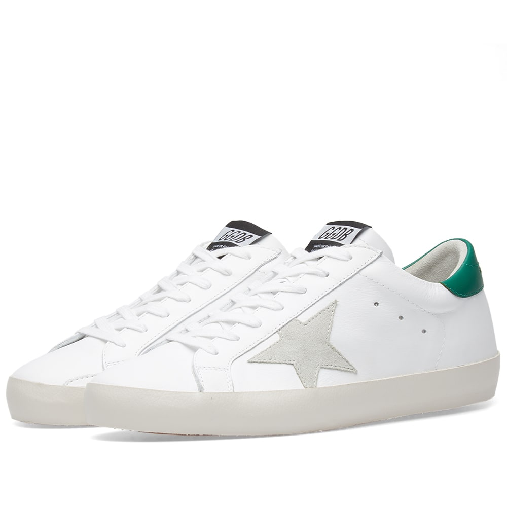 sale retailer 39928 a8b91 Golden Goose Deluxe Brand Superstar Clean Leather Sneaker White   Green    END.