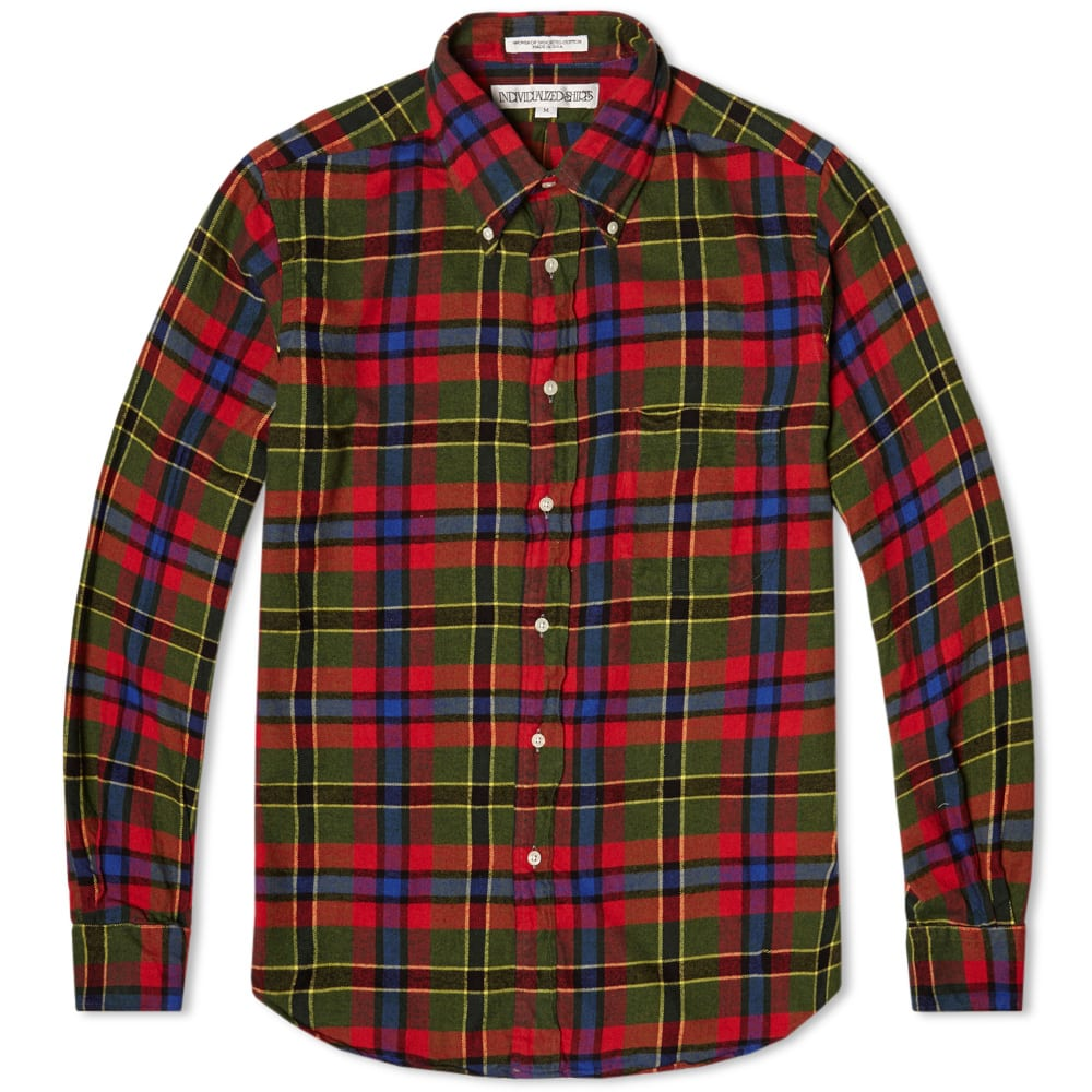 Individualized shirts check flannel shirt red green for Red and green checked shirt