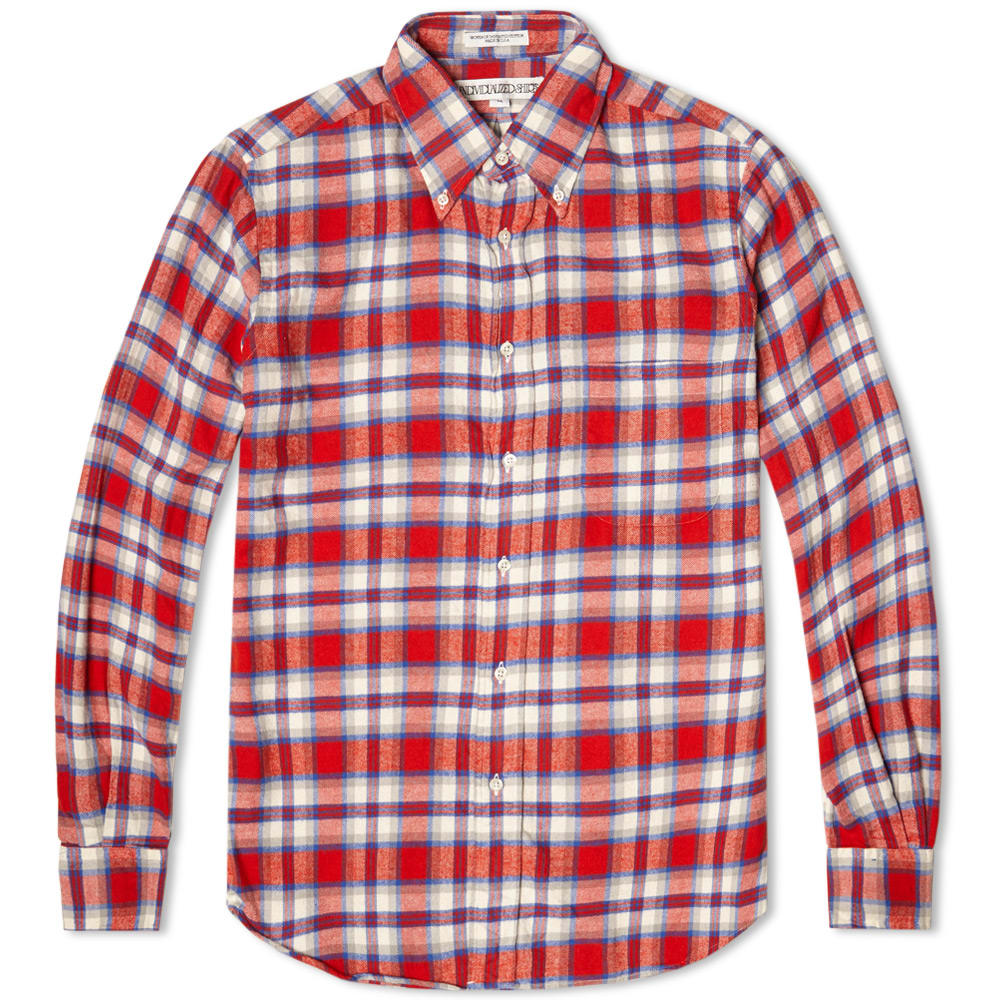Individualized shirts check flannel shirt red white for Red black and white flannel shirt