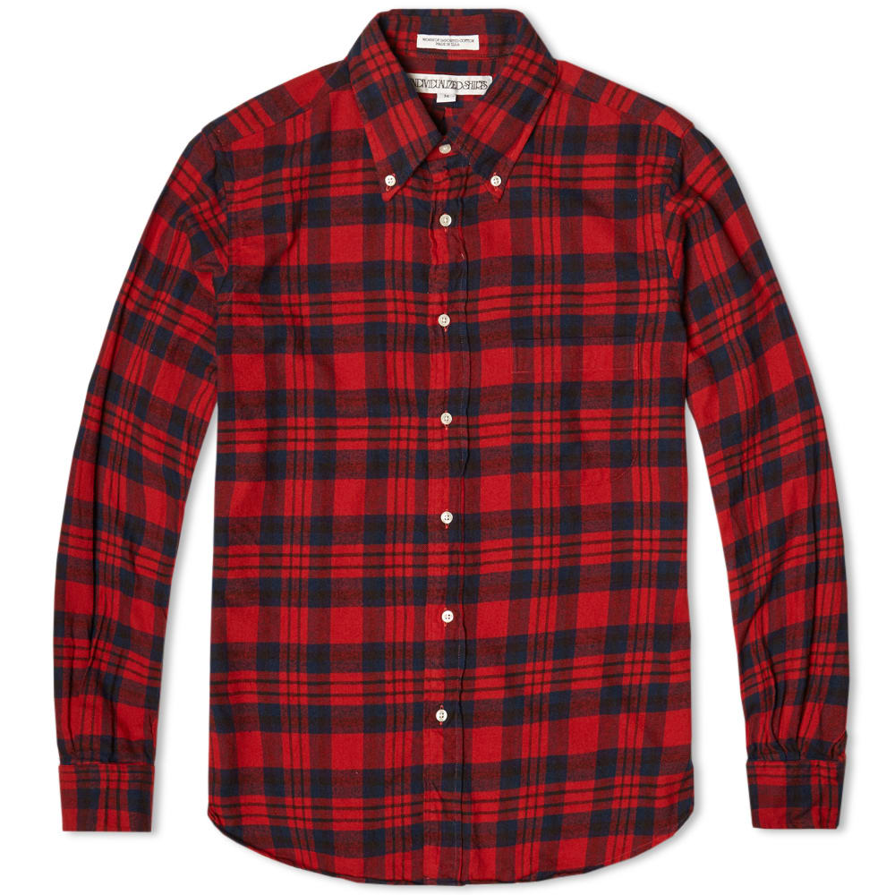 Individualized shirts check flannel shirt red for Flannel shirt under sweater