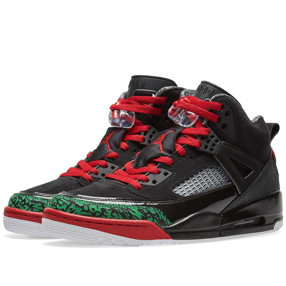 new style c7f5f 0b08d Jordan Spizike Black, Varsity Red   Green   END.