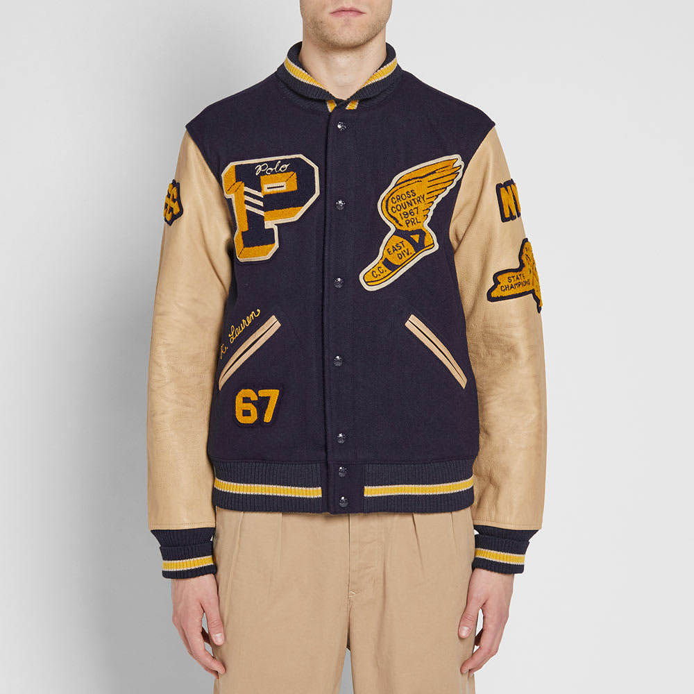 Varsity Polo Jacket Vintage Lauren Ralph Wool jARL5q34