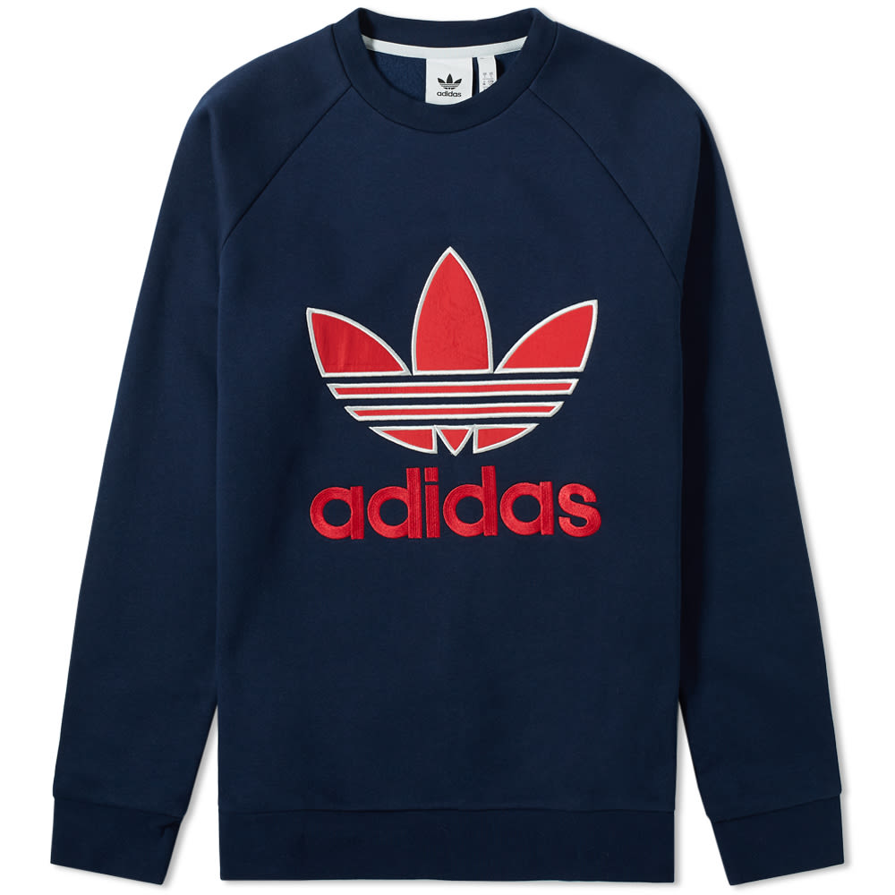 Adidas Trefoil Crew Sweatshirt in Collegiate Navy & Red