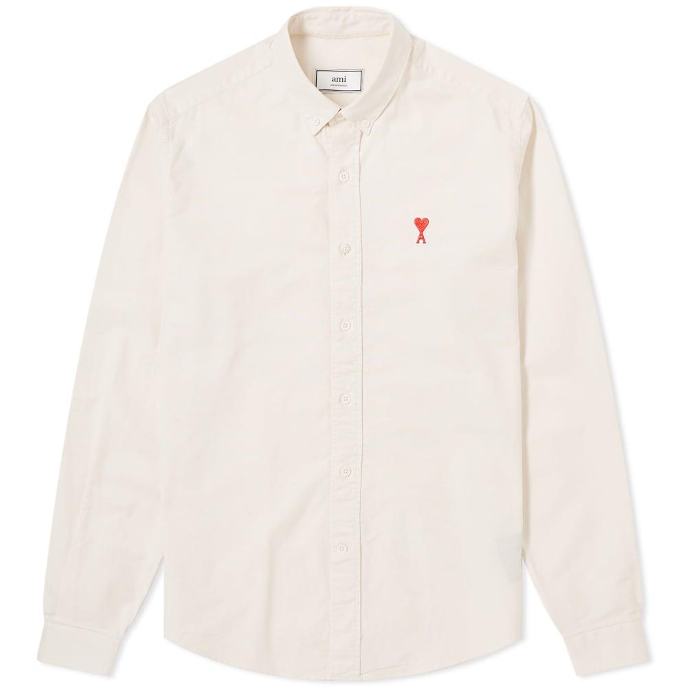 Ami Alexandre Mattiussi T-shirts AMI Heart Logo Oxford Shirt