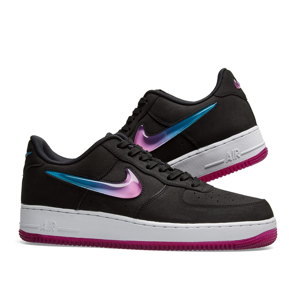 reputable site 2cc40 a2bbf Nike Air Force 1  07 Premium 2  Jelly Swoosh . Black, Fuschia   Blue