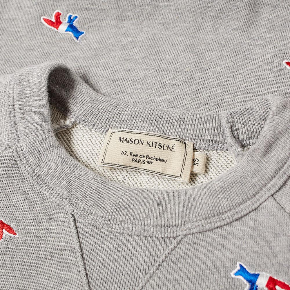 9bd17724 Maison Kitsuné All-Over Tricolour Fox Embroidery Crew Sweat Grey Melange |  END.