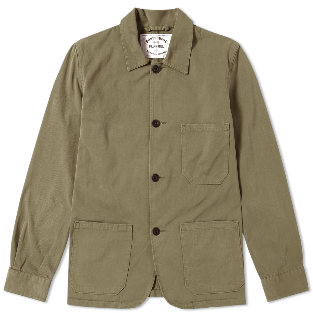 PORTUGUESE FLANNEL Portuguese Flannel Labura Chore Jacket in Green