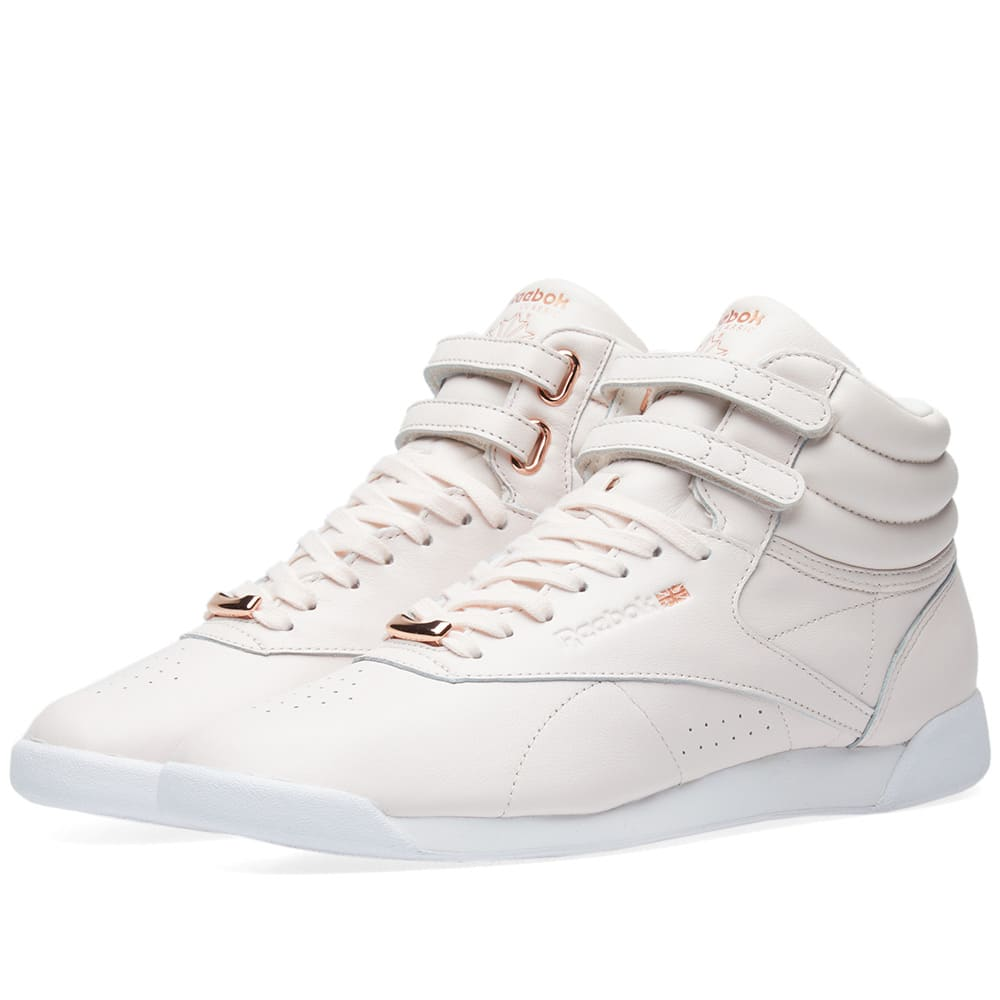 44112bf7e Reebok Freestyle Hi Muted W Pale Pink, White & Cool Shadow | END.
