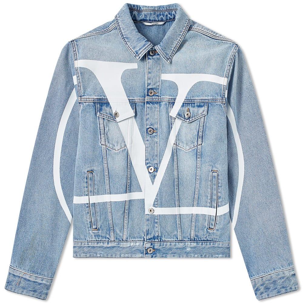 shop for best skate shoes brand quality Valentino Large V Logo Denim Jacket