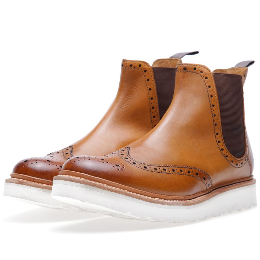Grenson Alistair V Wing Tip Chelsea Boot (Tan)