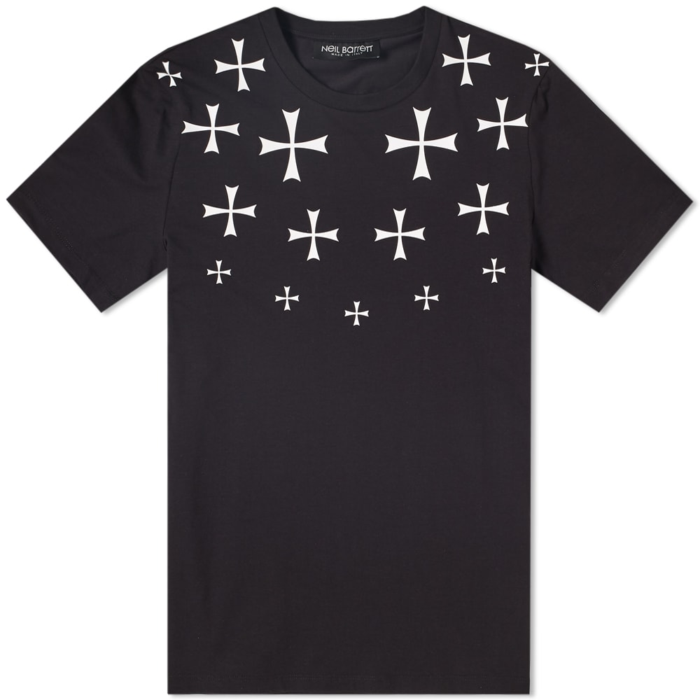 Neil Barrett Military Star Cotton-Blend T-Shirt In Black