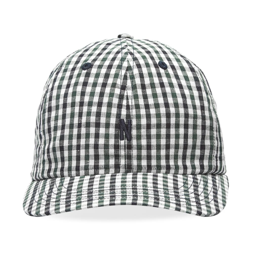 661391d08d Norse Projects Gingham Sports N Logo Cap Dark Navy | END.
