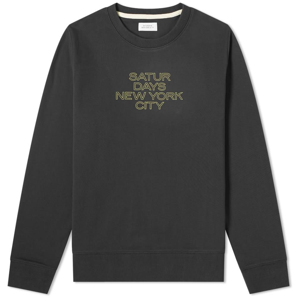 SATURDAYS NYC | Saturdays NYC Bowery Mars Outline Crew Sweat Black | Goxip