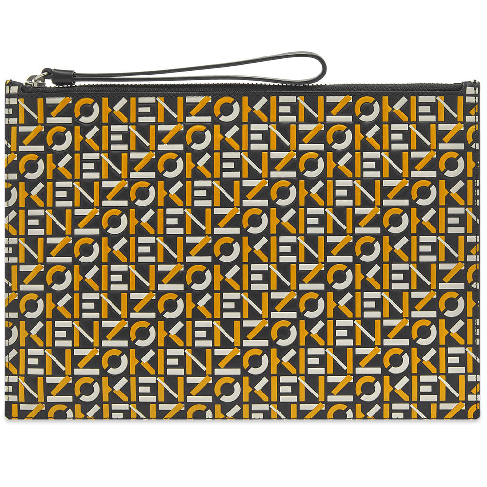 Kenzo Large Monogram Repeat Pouch In Yellow