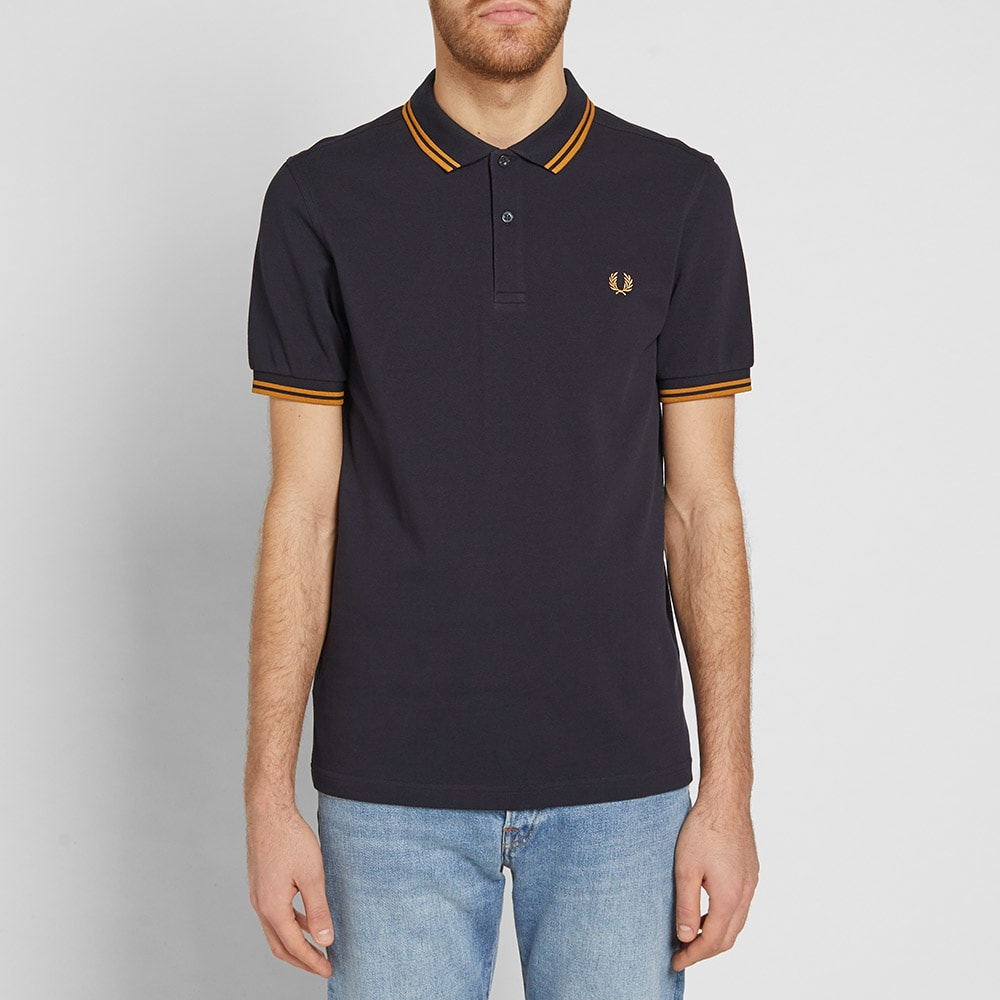 533a5cca Fred Perry Twin Tipped Polo Navy & Burnt Amber | END.