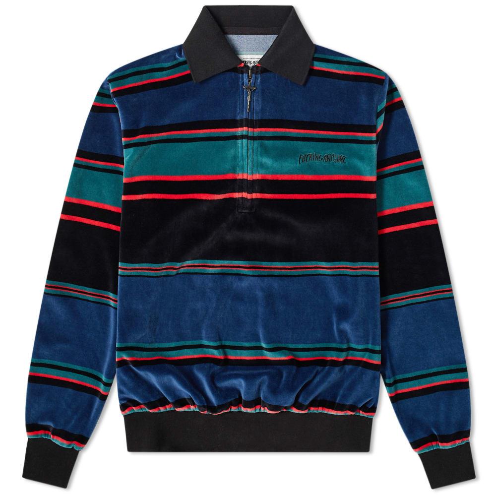 Fucking Awesome Block Stripe Velour 1/4 Zip Shirt by Fucking Awesome